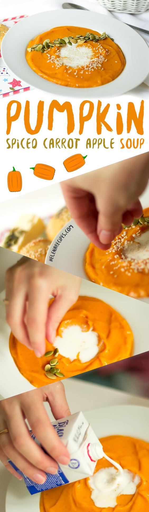 Spiced Carrot Apple Pumpkin Soup recipe Pinterest